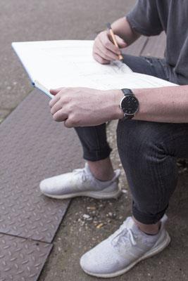 NOVS Uhr - Armbanduhr - Herren - NOVO silver black - silber schwarz