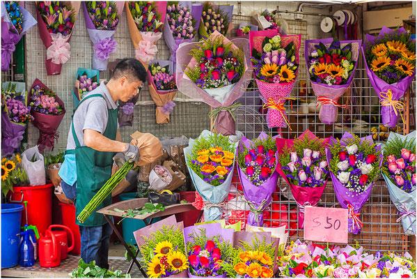 Kowloon (九龍). Marché aux fleurs.