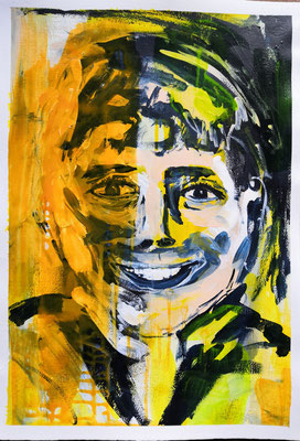 Porträt junger Mann, 40 x 60 cm, Acryl auf Bütten Papier