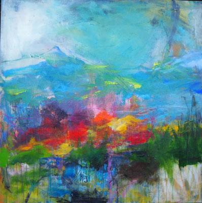 Landschaft mit Sonnenflecken, 100 x 100 cm, Acryl