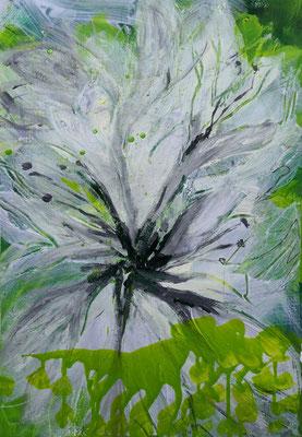 Weiße Ama III, 40 x 60 cm, Acryl auf Bütten Papier