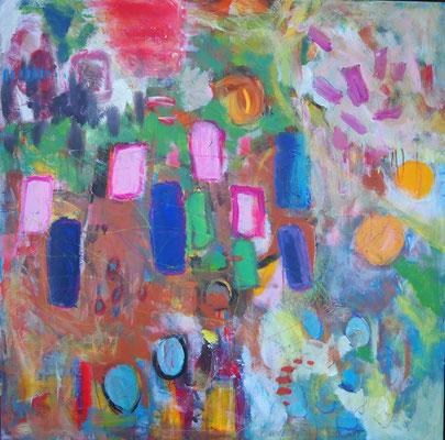 Gartenimpressionen II, 100 x 100 cm, Acryl auf Leinwand