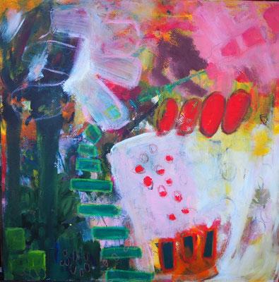 Gartenimpressionen I, 100 x 100 cm, Acryl auf Leinwand