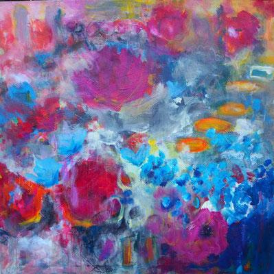 Blumenchaos, 100 x 100 cm, Acryl auf Leinwand