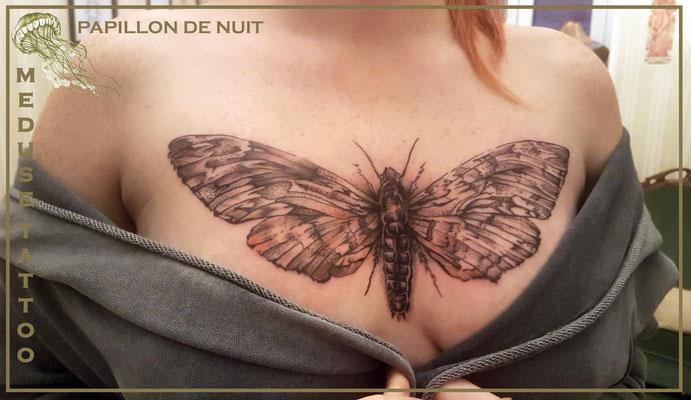 Tatouage d'un papillon  de nuit  - Méduse Tatto en Belgique