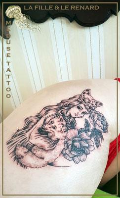 La fille & le renard - Méduse Tattoo en Belgique