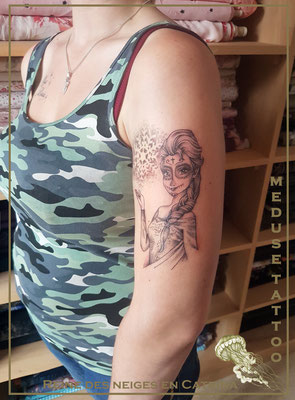 Reine des neiges en Catrina - Méduse Tattoo en Belgique