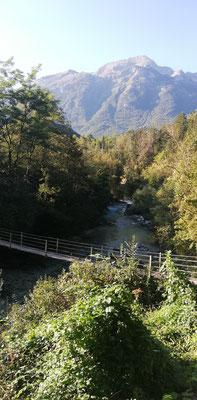Die letzte Hängebrücke über die Soča bei Bovec