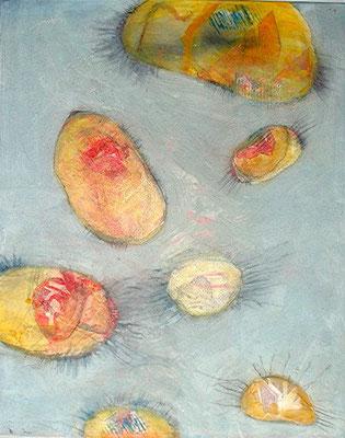 heitere Bakteroide 2,Pigmente,Material auf Lwd.,80 x 100, 2008
