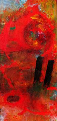 rot-rot, Acryl auf Lwd. 130 x 63, 2017