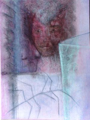 Obskur,Acryl-Mischtechnik auf Papier, auf Holzplatte  gezogen, 120 x 100,2005
