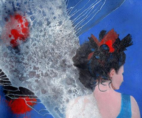 mit blauem Kleid, Acryl auf Lwd. 77 x 86,2003