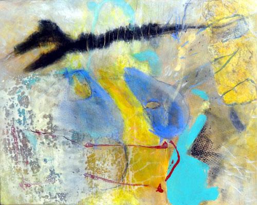 Aka im Überflug, Michtechnik auf Papier auf Lwd. gezogen, 80 x 100, 2016