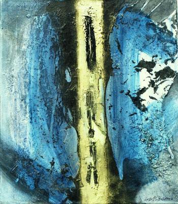 goldene Mitte,Acryl-Enkaustik auf Lwd,50 x 42,2003