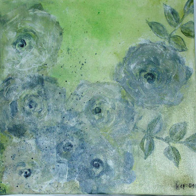 grüne  Rosen , Acryl auf Lwd. 30 x 30
