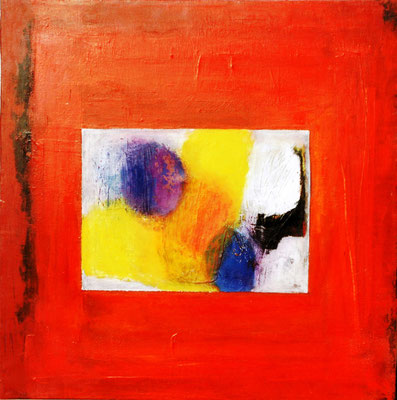 roter Rahmen,Acryl auf Lwd, 60x60