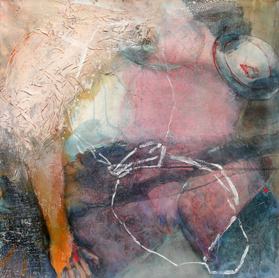 weiblicher Torso, Acryl-Pigmente-Material auf Lwd., 80 x 80, 2009