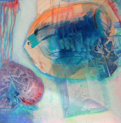 Fische , Acryl,Pigmente auf Lwd., 80 x 80, 2009 (2)