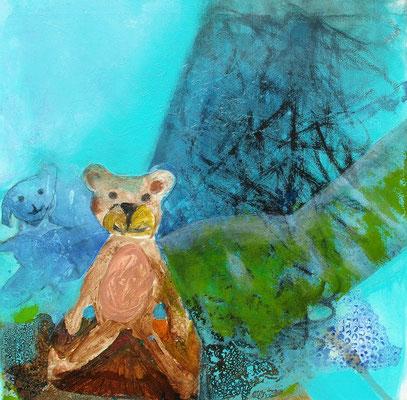 Teddy,Collage -Acryl-mischtechnik ,Lwd. 6o x 6o , 2011