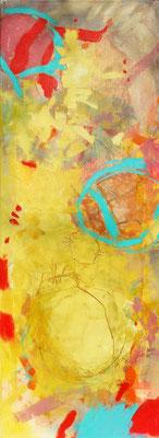 Frsythien-gelb-gold, Acryl-Pigmente auf Lwd.,42 x 115, 2009