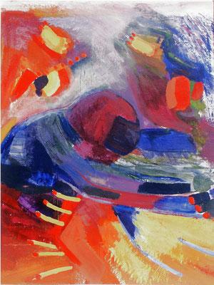 Tempo,Acryl auf Papier,auf Holzplatte gez.120 x 100 ,2005