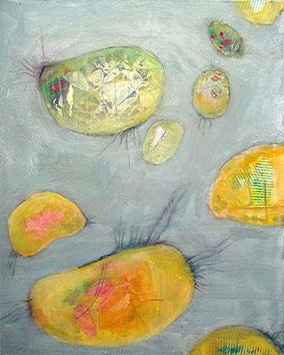 heitere Bakteroide 1,Pigmente,Material auf Lwd.,80 x 100, 2008
