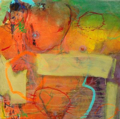 feminin, Acryl-Pigmente-Mischt. auf Lwd., 70 x 70, 2009