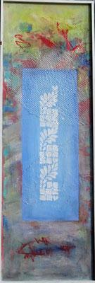 heiter-2,Acryl-Pigmente-Mischtechnik auf Pressfaserplatte 114 x 39, übermalt 2015 - Kopie