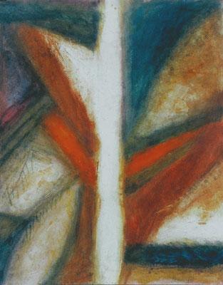 Weiße Mitte,Acryl-Papier,64 x 50,2003