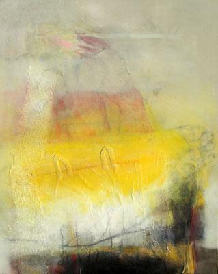 erleichtert,Pigmente,Material auf Lwd., 80 x 100,  übermalt 2014