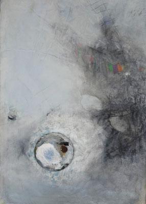 flying saucer, Acryl-Pigmente-Mischtechnik auf Lwd. 90 x 70, übermalt 2015