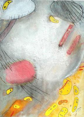 Bakterien auf Urlaub,Acryl auf Papier, auf holz gezogen, 100 x 80 ,2007