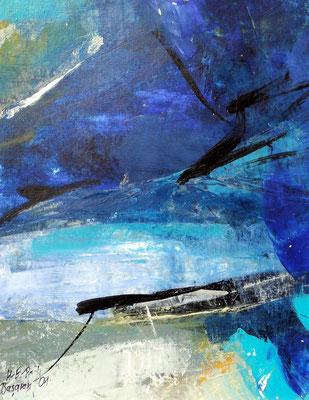 blaue  Elbe 1, Acryl auf Papier,35 x 30,2001