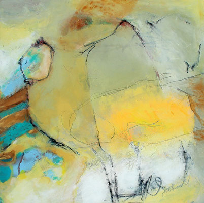 Im Sommerweizen, Acryl-Mischtechnik, Lwd. 100 x 100 , 2012
