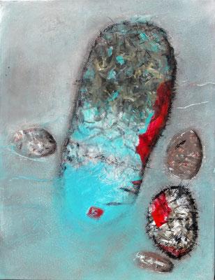 stehendes Gewässer-Pantoffeltierchen,Mischtechnik auf Lwd.,75 x 58 , 2015