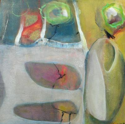 Schote, Acryl-Pigmente-Mischt.auf Lwd. 100 x 100 ,2012