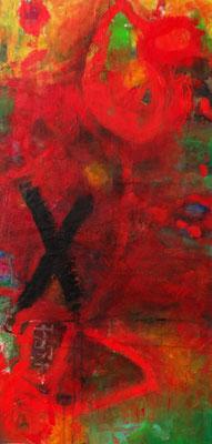 rot X, Acryl auf Lwd. 130 x 63, 2017