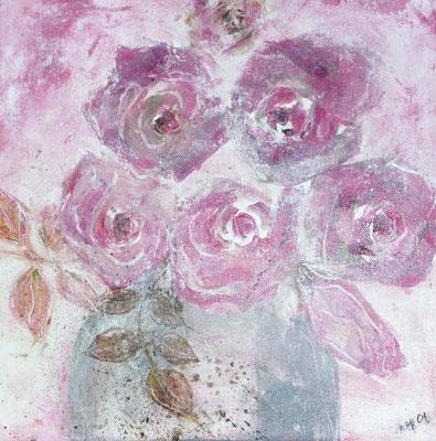 rote Rosen,Acryl auf Lwd. 30 x 30