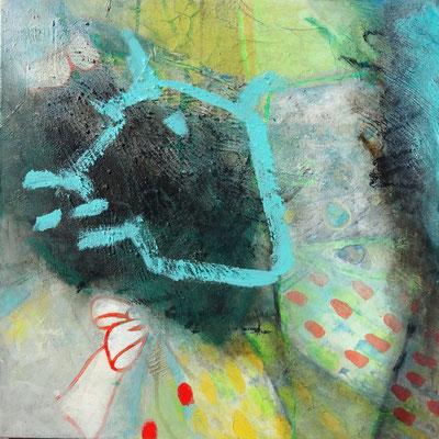 braves Mädchen - vermißt, Acryl,Pigmente, Lwd. 60 x60 , übermalt 2013