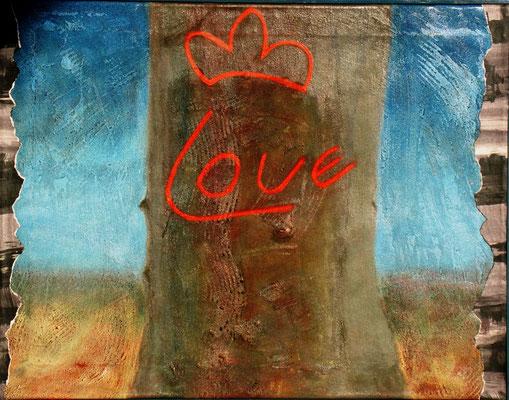 Love Tree, Acryl auf Lwd,  68 x 35,2002