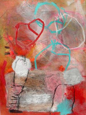 heftiger Dialog 1 Diptychon,Acryl-Pigmente-Mischtechnikauf wed.,80 x 60, 2009