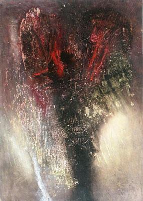 Dunkler  Engel, Acryl-Enkaustik auf Pappe,70 x 48, 2003