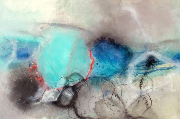 leicht bedrängt, Acryl-Pigmente-Michtechnik,100 x 150, 2009