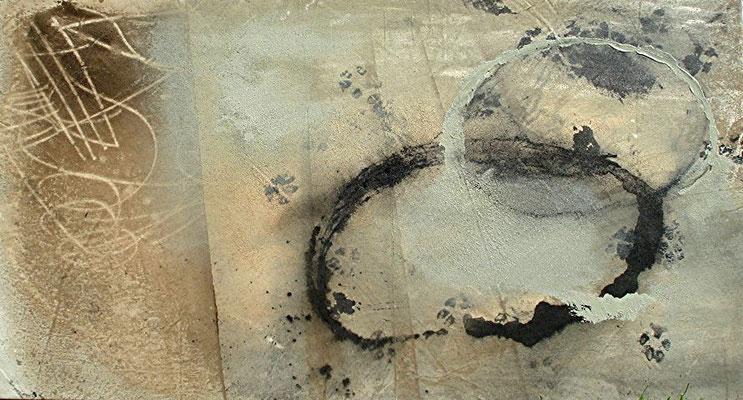 Spuren-1,Acryl ,Gouache,Pigmente auf Lwd. 60 x 110,