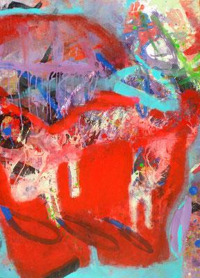 Katzen in der roten Hose,Acryl-Pigmente ,140 x 100, 2010