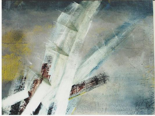 Gestörte Kristalle,100 x 120,Acryl auf Papier auf Holz gezogen,2005