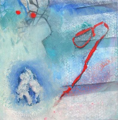 der Traum vom Glück, Acryl -Mischt.auf Lwd, 50x50,übermalt 2o122004-08