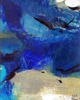 blaue Elbe 2 ,Acryl auf Papier,35 x 30,2001