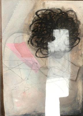 der neue Schnitt, Pigmente auf Papier auf Sperrholz gezogen, 110 x 80, 2007