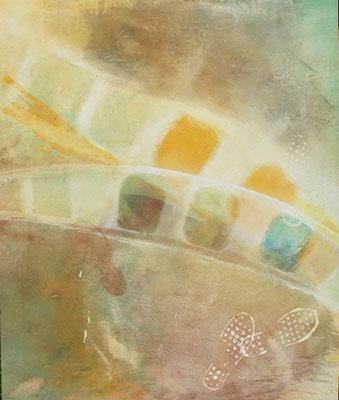 noch ein Schritt weiter,Pigmente auf Lwd. 125 x 105,2007